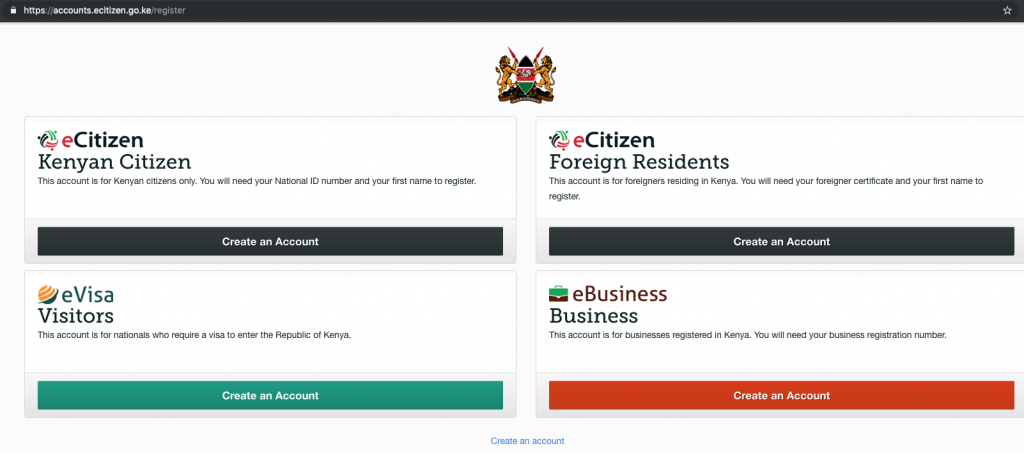 eCitizen Kenya includes Business Registration
